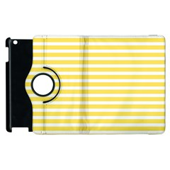 Horizontal Stripes Yellow Apple Ipad 2 Flip 360 Case by Mariart