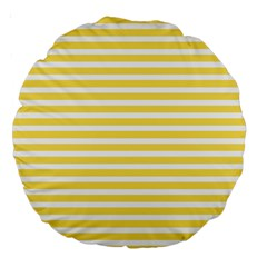 Horizontal Stripes Yellow Large 18  Premium Round Cushions