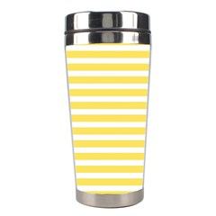 Horizontal Stripes Yellow Stainless Steel Travel Tumblers by Mariart