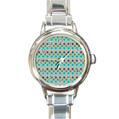 Large Colored Polka Dots Line Circle Round Italian Charm Watch