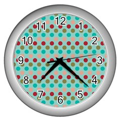 Large Colored Polka Dots Line Circle Wall Clocks (silver)  by Mariart
