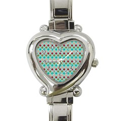 Large Colored Polka Dots Line Circle Heart Italian Charm Watch by Mariart