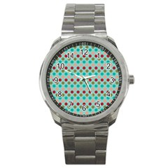 Large Colored Polka Dots Line Circle Sport Metal Watch by Mariart