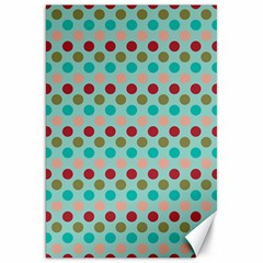 Large Colored Polka Dots Line Circle Canvas 20  X 30   by Mariart