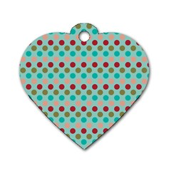 Large Colored Polka Dots Line Circle Dog Tag Heart (two Sides) by Mariart