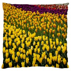 Colorful Tulips In Keukenhof Gardens Wallpaper Large Cushion Case (two Sides) by Simbadda