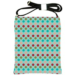 Large Colored Polka Dots Line Circle Shoulder Sling Bags by Mariart