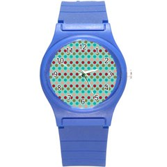 Large Colored Polka Dots Line Circle Round Plastic Sport Watch (s) by Mariart