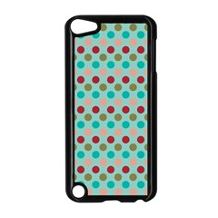 Large Colored Polka Dots Line Circle Apple Ipod Touch 5 Case (black)