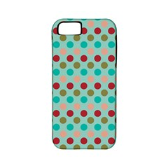 Large Colored Polka Dots Line Circle Apple Iphone 5 Classic Hardshell Case (pc+silicone)