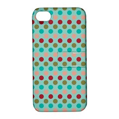 Large Colored Polka Dots Line Circle Apple Iphone 4/4s Hardshell Case With Stand