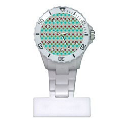 Large Colored Polka Dots Line Circle Plastic Nurses Watch by Mariart