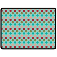Large Colored Polka Dots Line Circle Double Sided Fleece Blanket (large)  by Mariart
