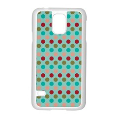 Large Colored Polka Dots Line Circle Samsung Galaxy S5 Case (white)
