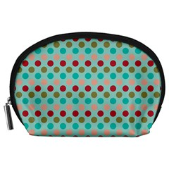 Large Colored Polka Dots Line Circle Accessory Pouches (large)  by Mariart