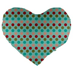 Large Colored Polka Dots Line Circle Large 19  Premium Flano Heart Shape Cushions