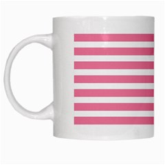 Horizontal Stripes Light Pink White Mugs by Mariart