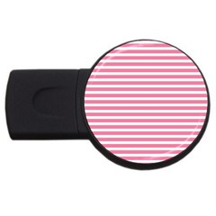 Horizontal Stripes Light Pink Usb Flash Drive Round (2 Gb) by Mariart