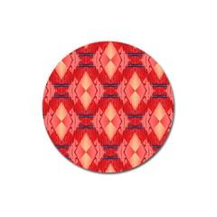 Orange Fractal Background Magnet 3  (round) by Simbadda