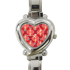 Orange Fractal Background Heart Italian Charm Watch by Simbadda