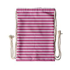 Horizontal Stripes Light Pink Drawstring Bag (small)