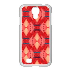 Orange Fractal Background Samsung Galaxy S4 I9500/ I9505 Case (white) by Simbadda