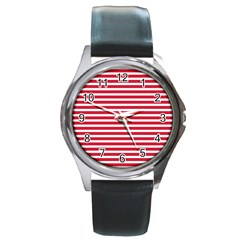 Horizontal Stripes Red Round Metal Watch by Mariart