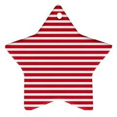 Horizontal Stripes Red Ornament (star)