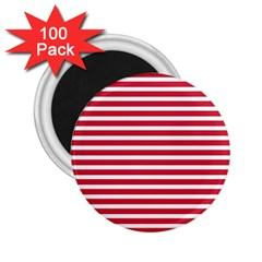 Horizontal Stripes Red 2 25  Magnets (100 Pack)  by Mariart
