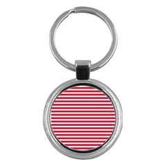Horizontal Stripes Red Key Chains (round)  by Mariart