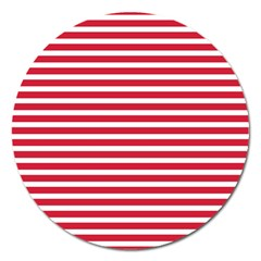 Horizontal Stripes Red Magnet 5  (round) by Mariart