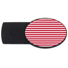 Horizontal Stripes Red Usb Flash Drive Oval (2 Gb) by Mariart