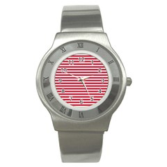 Horizontal Stripes Red Stainless Steel Watch by Mariart