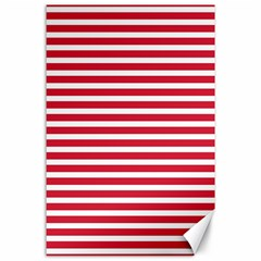 Horizontal Stripes Red Canvas 24  X 36  by Mariart