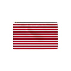 Horizontal Stripes Red Cosmetic Bag (small)  by Mariart