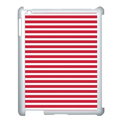 Horizontal Stripes Red Apple Ipad 3/4 Case (white) by Mariart