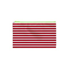 Horizontal Stripes Red Cosmetic Bag (xs) by Mariart