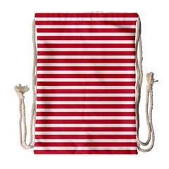 Horizontal Stripes Red Drawstring Bag (large) by Mariart