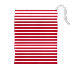 Horizontal Stripes Red Drawstring Pouches (extra Large) by Mariart