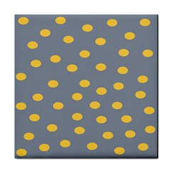 Limpet Polka Dot Yellow Grey Tile Coasters by Mariart