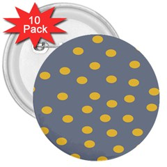 Limpet Polka Dot Yellow Grey 3  Buttons (10 Pack)  by Mariart