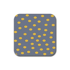 Limpet Polka Dot Yellow Grey Rubber Square Coaster (4 Pack)  by Mariart