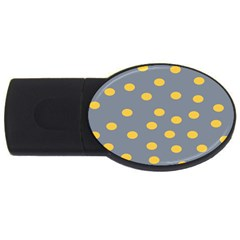 Limpet Polka Dot Yellow Grey Usb Flash Drive Oval (2 Gb) by Mariart