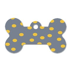 Limpet Polka Dot Yellow Grey Dog Tag Bone (two Sides) by Mariart