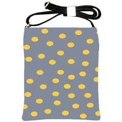 Limpet Polka Dot Yellow Grey Shoulder Sling Bags by Mariart