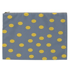 Limpet Polka Dot Yellow Grey Cosmetic Bag (xxl)  by Mariart