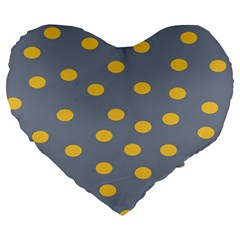 Limpet Polka Dot Yellow Grey Large 19  Premium Heart Shape Cushions by Mariart