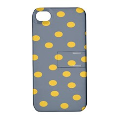 Limpet Polka Dot Yellow Grey Apple Iphone 4/4s Hardshell Case With Stand by Mariart
