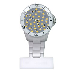Limpet Polka Dot Yellow Grey Plastic Nurses Watch by Mariart
