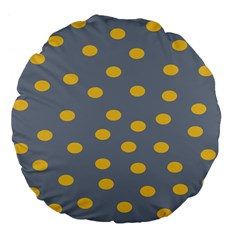 Limpet Polka Dot Yellow Grey Large 18  Premium Flano Round Cushions by Mariart
